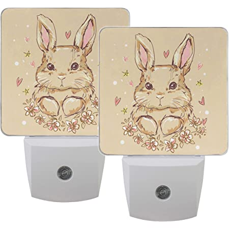 Download Naanle Set Of 2 Cute Easter Bunny Rabbit With Heart Star Floral Flower On Beige Auto Sensor Led Dusk To Dawn Night Light Plug In Indoor For Adults Amazon Com
