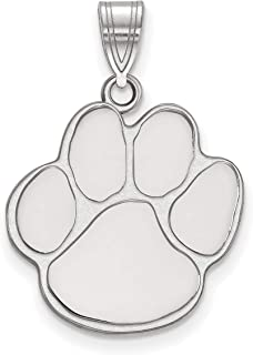 Auburn University Tigers Mascot Paw Pendant in Sterling Silver 19x19mm