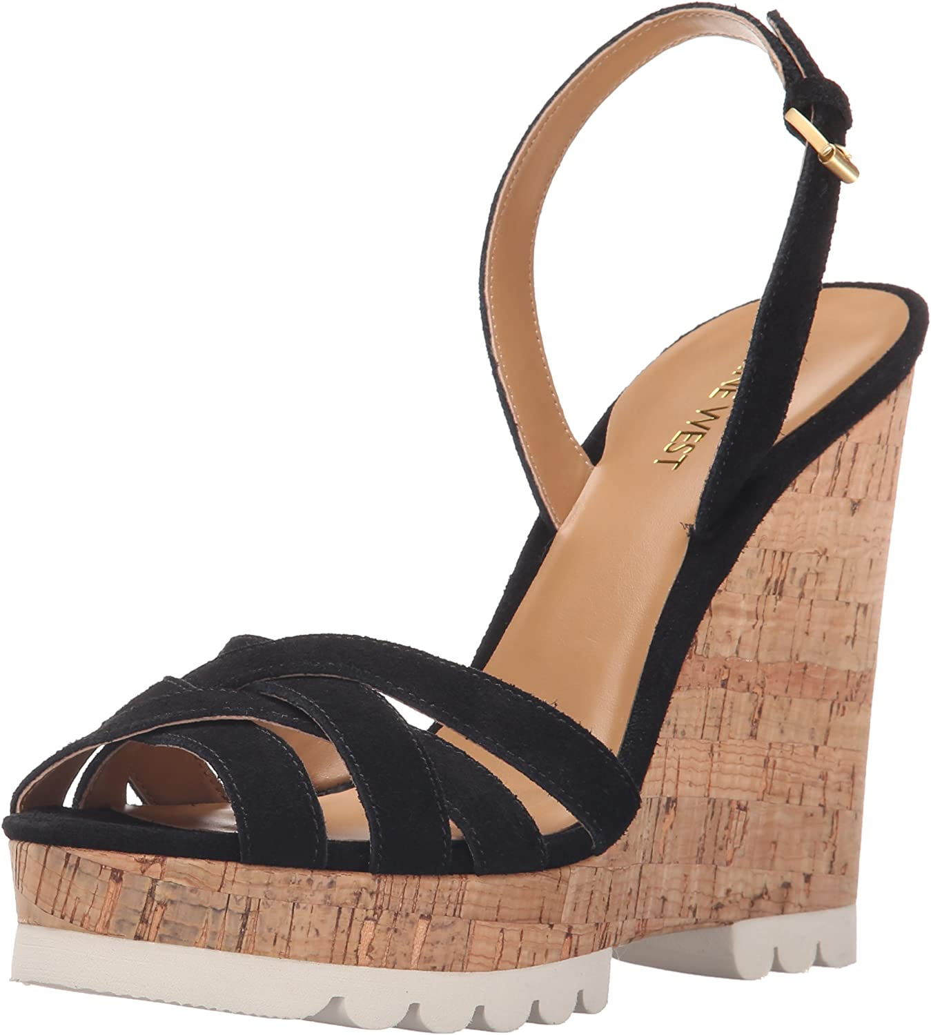 Nine West Womens Kindeyes Suede Wedge Sandal