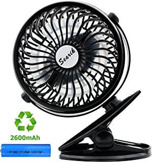 Clip On Fan for Baby Stroller, Searik Portable Rechargeable 2600mAh Battery Operated Mini USB Table Fan Personal Camping Fan for Home Office Work Dorm Bed Travel Indoor Outdoor