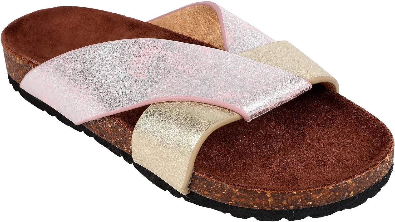 Syktkmx Womens Flat Platform Slides Slip on Cross Strap color Block Cork Sandals