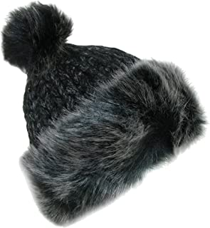 faux fur trim beanie hat