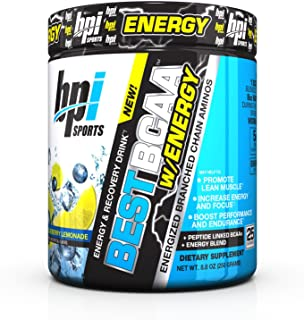 BPI Sports Best BCAA Powder with Energy, Branched Chain Amino Acids, Blueberry Lemonade, 25 Servings, 8.8 oz