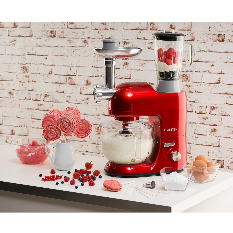 Klarstein Lucia Rossa 2G - Robot de cocina universal, Batidora, 1200 W, 5,2 Litros, Amasadora planetaria, Picadora de carne, Rodillo para pasta, Licuadora 1,5 Litros, 6 Velocidades, Rojo: Amazon.es: Hogar