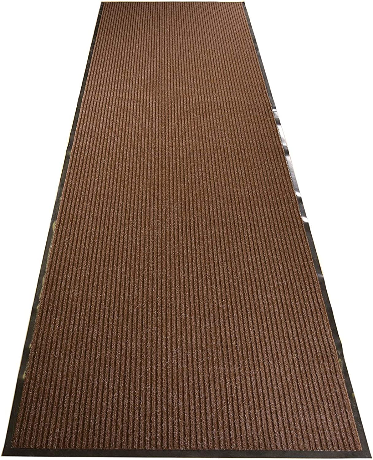 RugStylesOnline Tough Entry Mat Indoor Outdoor Entrance Mat and Hallway Runner Tough Entry Collection Slip Skid Resistant PVC Backing Anti Bacterial Commercial Grade (Brown, 3' x 10')
