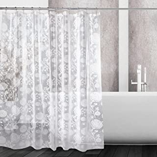 Kalokelvin PEVA 5G Shower Curtain Liner Waterproof with 12 Metal Hooks 72x72 Inches - Dandelion