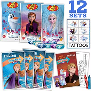 Frozen II Party Favors - 12 Disney's Frozen Jelly Beans 1oz bags (Jelly Belly), 12 Mini Frozen Play Packs, 24 Tattoos, Great for Birthday Party Favors, Prizes, pinata fillers, giveaways, and goodies