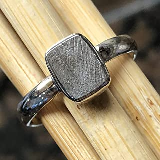 Natural Muonionalusta Meteorite Sweden 925 Solid Sterling Silver Ring Size 9