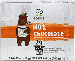 Soeos Chocolate Hot Cocoa K-Cup(24 Count), Hot Cocoa Milk Chocolate K Cup Pods, Single Serving Cups for Keurig K-Cup Brewers