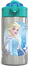 Zak Designs Frozen Stainless Steel Kids Water Bottle with Flip-up Straw Spout, 15.5oz, FZNR-S730-C-AMZ