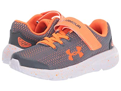 Under Armour Kids Pursuit 2 (Little Kid) (Pitch Gray/White/Orange Spark) Boys Shoes