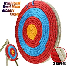 Ogrmar 3 Layers 20 inch Traditional Solid Straw Archery Target 2.2 inch Thickness Hand-Made Arrows Target for Outdoor Shoo...