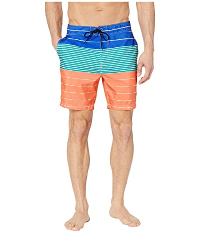 Nautica Variegated Stripe Swim Trunks (Living Coral) Men