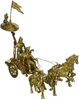 Exotic India Statua Krishna and Arjuna's in The Mahabharata, mosiądz, żółty, 15 x 23 cm