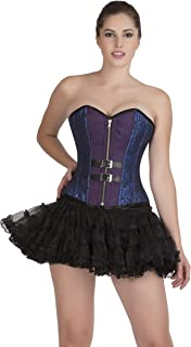 Blue Black Brocade & Purple Cotton Halloween Party Prom Costume Overbust Corset