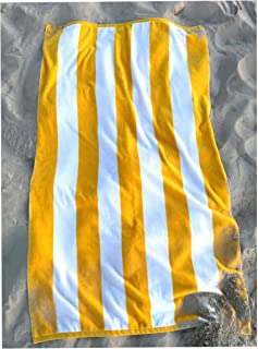 Consumable Depot%100 Cotton, Cabana, Stripe Designed Beach, Bath, Pool, Towel, Made in Turkey (Yellow White-1)