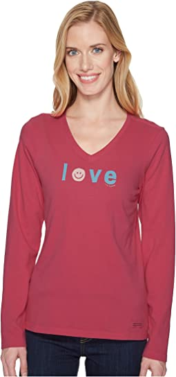 Life is Good - Smiley Love Long Sleeve Crusher Vee