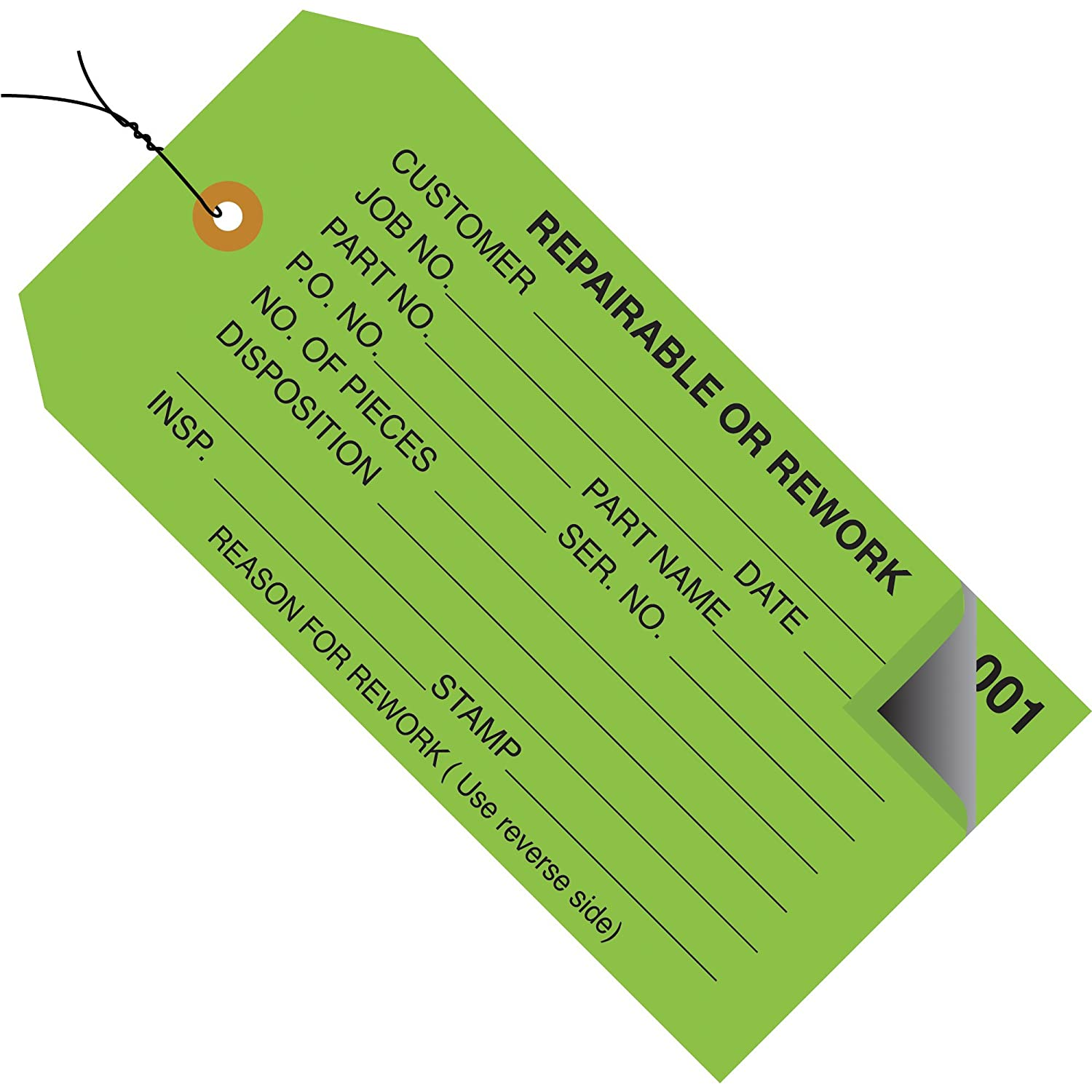 Inspection Tags, 2 Part, Numbered 001-499, Pre-Wired,