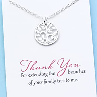 Unbiological Mom Jewelry • Personalized Gift for Mother In Law • Stepmom • Sterling Silver Family Tree Necklace