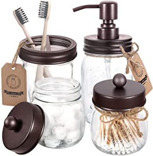 Mason Jar Bathroom Accessories Set 4 Pcs - Mason Jar Soap Dispenser & 2 Apothecary Jars & Toothbrush Holder - Rustic Farmh...