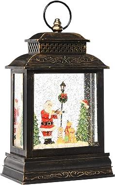 HOMCOM Christmas Snow Globe WaterLantern Music Box with Light, Ring Handle Holiday Home Novelty Decorations, Santa Play Violi