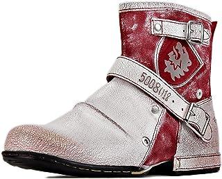 osstone Bottes de Moto Cowboy pour Hommes Mode Zipper Bottes Chukka en Cuir Chaussures décontractées OS-5008-1-V-R