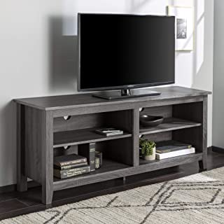 """WE Furniture Minimal Farmhouse Wood Universal Stand for TV`s up to 64"""" Flat Screen Living Room Storage Shelves Entertainment Center, 58 Inch, Charcoal"""