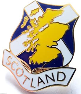 Scotland Scottish Shield Flag with Country Map Enamel and Metal Pin Badge