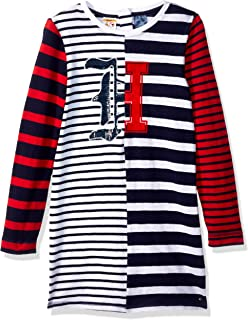 Tommy Hilfiger Girls' Little Adaptive Striped Dress with Magnetic Buttons
