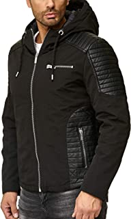 Redbridge Men's Transition Jacket Faux Leather Biker Elements Quilted Casual Jacket with Hood