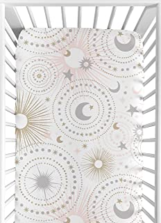 Sweet Jojo Designs Blush Pink, Gold, Grey and White Star and Moon Baby or Toddler Fitted Crib Sheet for Celestial Collection