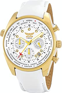 Aviator Womens Watch - Ladies Casual Fashion Wristwatch - White Strap Gold Case with White Crystals - Female Quartz Oversize XL Chronograph