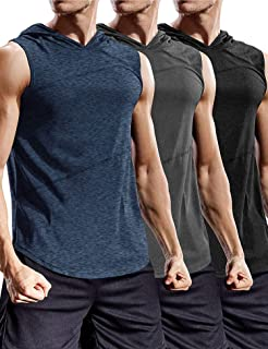 COOFANDY Men's 3 Pack Gym Tank Tops Sleeveless Workout Hoodie Muscle Sweatshirt