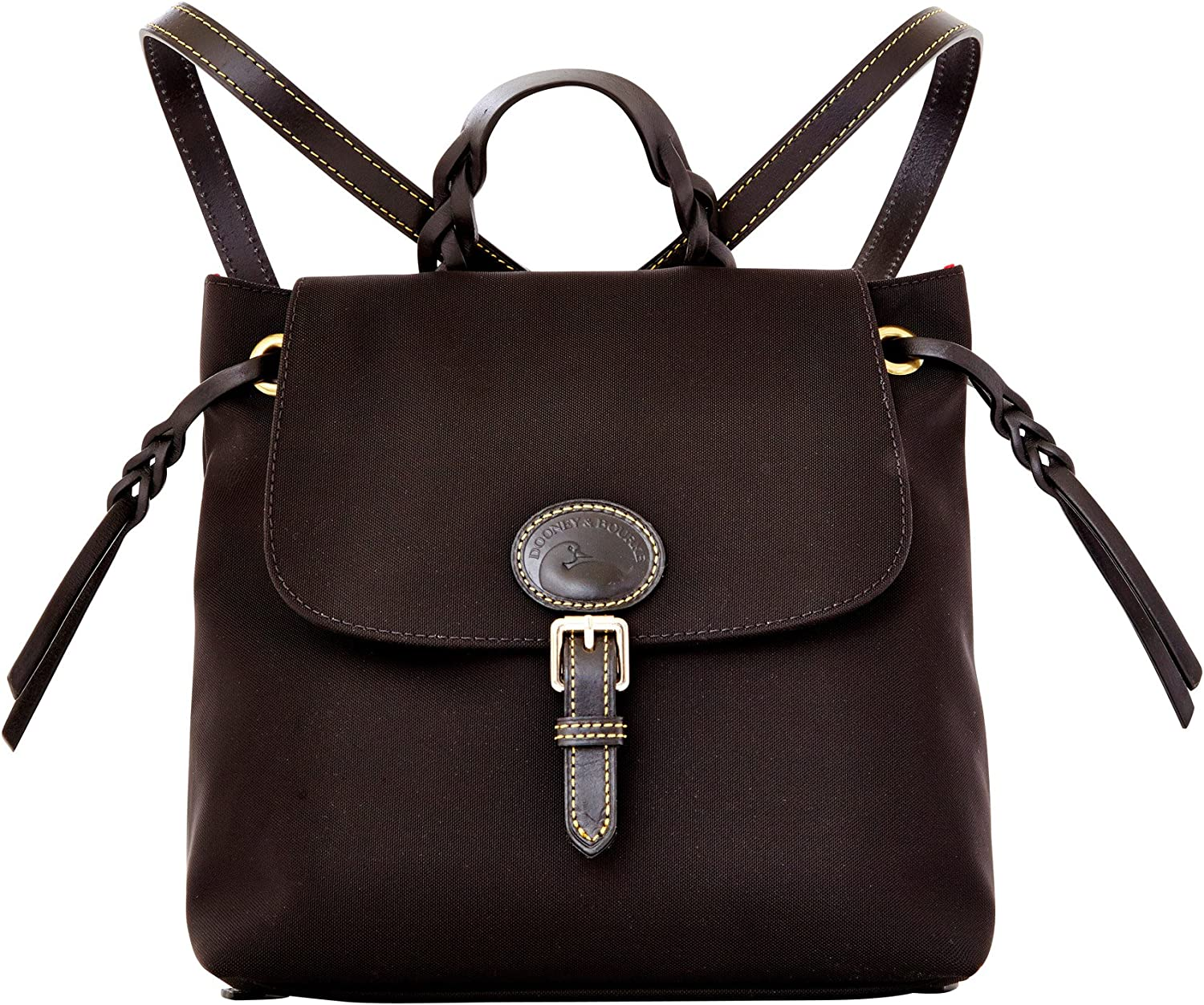 Dooney Bourke Flap Free Some reservation shipping Backpack Leather Canvas Black
