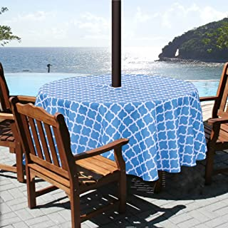 ColorBird Elegant Trellis Outdoor Tablecloth Waterproof Spillproof Polyester Fabric Table Cover with Zipper Umbrella Hole for Patio Garden Tabletop Decor (60