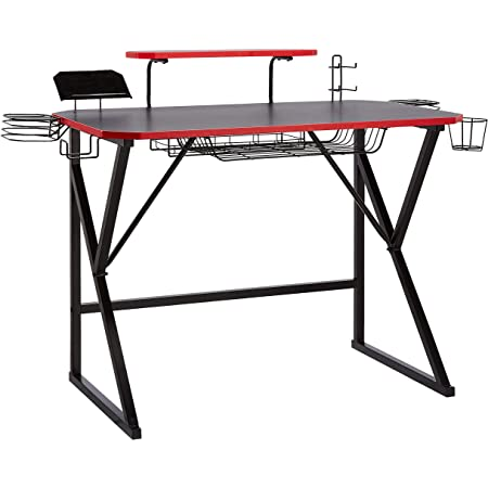 Amazon Basics Gaming Computer Desk with Storage for Controller, Headphone & Speaker - Red