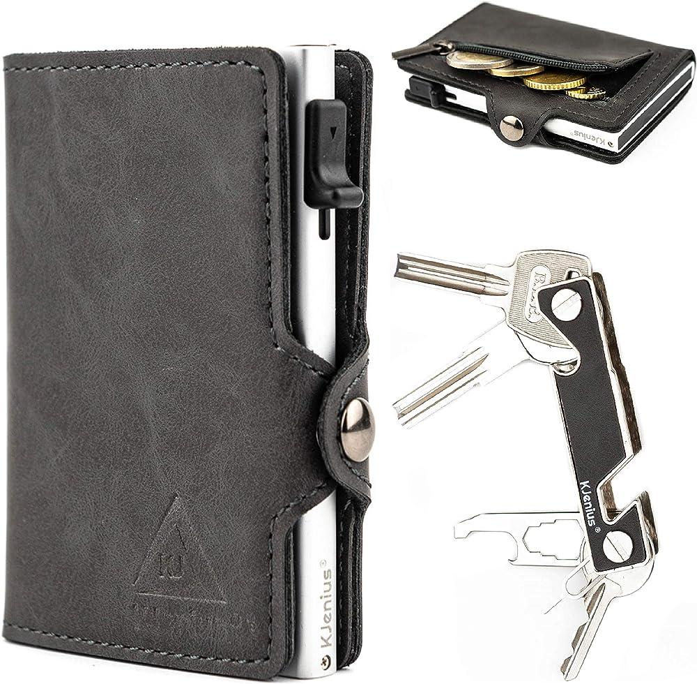 Kjenius® portafoglio slim porta carte di credito da uomo protezione rfid in 100% fibra di carbonio e pelle PCC-MART-01-GR