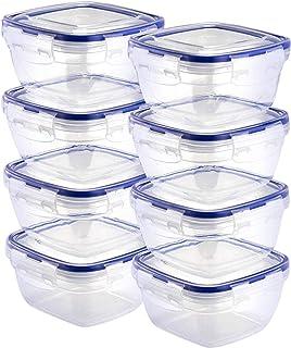 Grizzly Contenedores de Almacenamiento de Alimentos con Tapas - Quadrado - 500 ml - Juego de 8 - Hermético - antifugas - sin BPA
