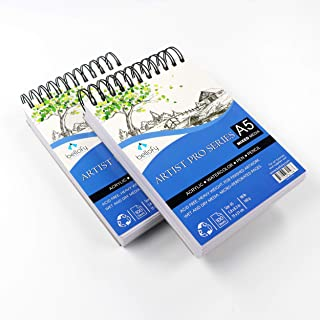 Bellofy 100-Sheet Small Sketchpad Mini Series 5.8 x 8.3 inch - Acrylic Art Pad for Sketching Ink Sketch Book - 98 Ib/160 g/m2 - Spiral Multimedia Notebook, Drawing Paper Pad - Set of 2