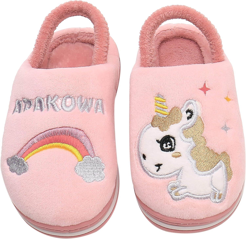 Apakowa Kids Boys Girls Comfort Max 81% OFF Cute Colorado Springs Mall Slippers Warm Animal Non Sl