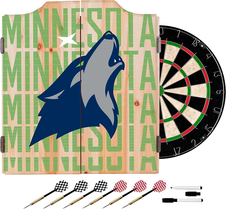 Trademark Global NBA Dart Cabinet Set with Darts and Board  City  Minnesota Timberwolves NBA7010MT3