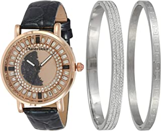 Charles Delon Women's Leather Watch & Bangles Set - 5415 Lrxb, Analog Display