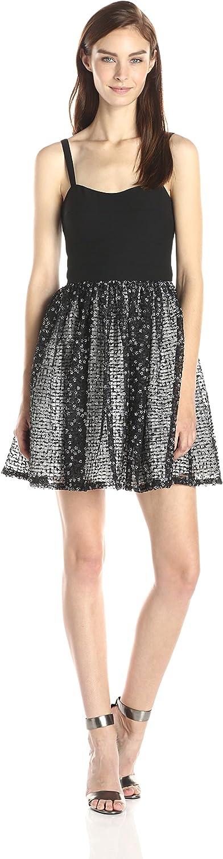 Aidan Mattox Aidan Women's CutOut Stretch Top Dress with Lace Party Skirt Black White