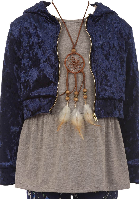 Big Girls Set Velvet Hoodie Jacket Tank Top Necklace Floral Legging Pants Set USA
