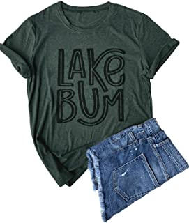 LANMERTREE Women Graphic Tees Lake Life Letters Print T Shirt Short Sleeve Casual Tops Blouse