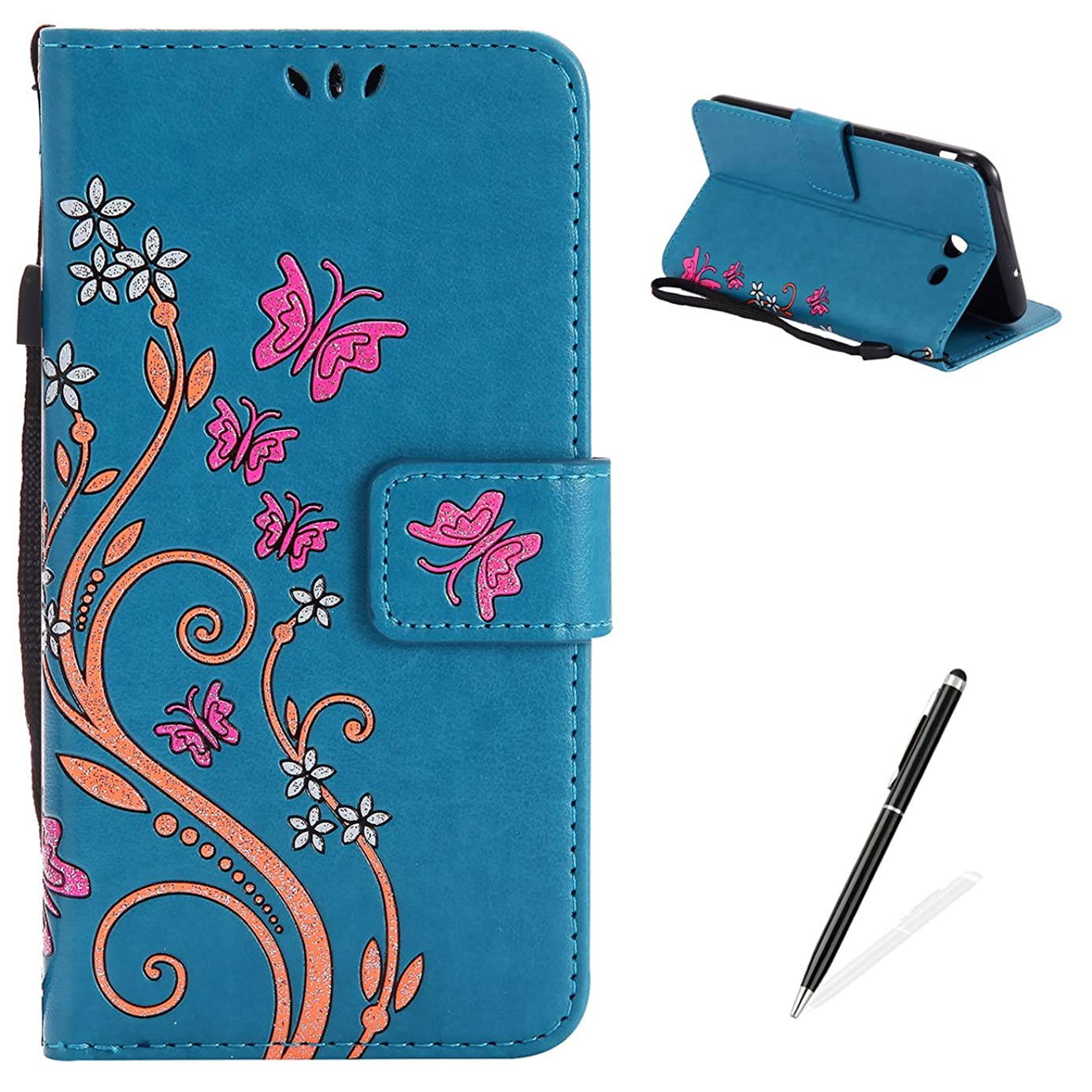 MAGQI Samsung Galaxy J7 2017 Case, Premium Slim Fit Flip PU Leather Stand Wallet Book Style Case with Card Slots Magnetic Closure Embossed Rose Flower Butterfly Pattern Cover