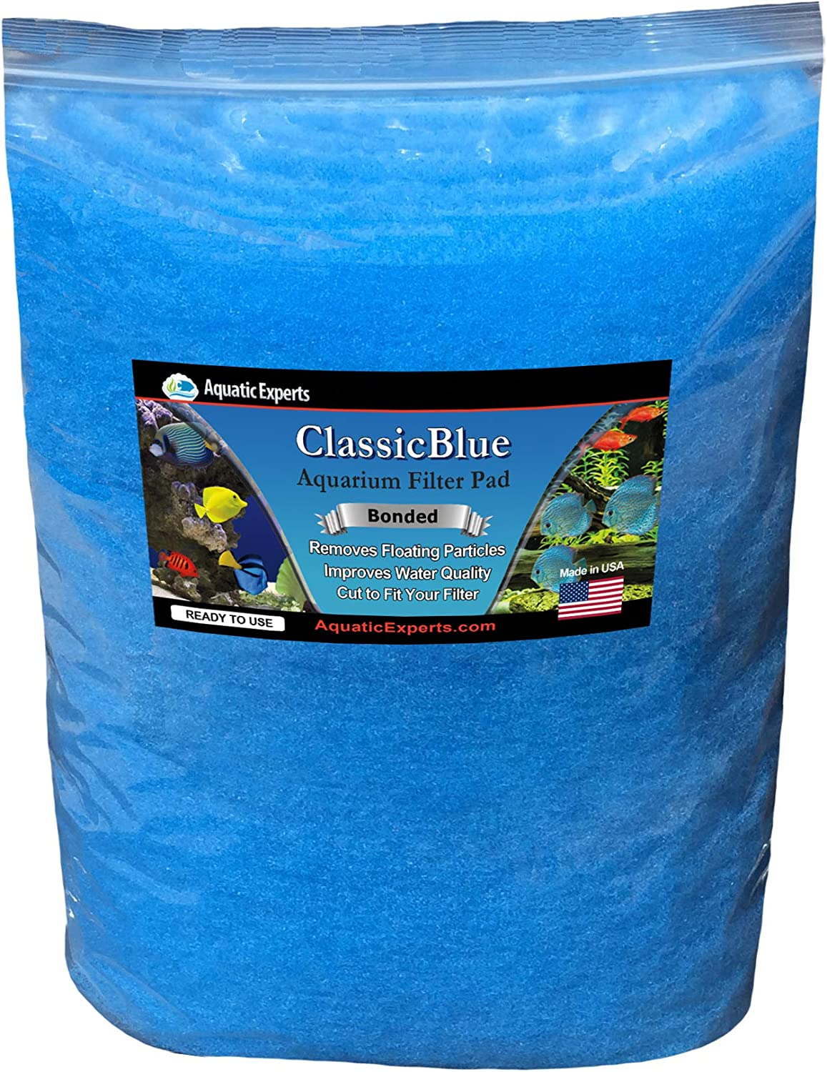 Aquatic Experts Classic Bonded Aquarium Filter Pad 12 Inches by 72 Inches by .75 Inch  bluee and White Aquarium Filter Media Roll Bulk Can Be Cut to Fit Most Filters, Made in USA