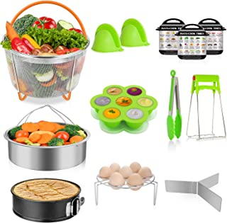 TAIKER Accessories for Instant Pot Pressure Cooker Accessories for 6,8 Qt Quart with 2 Steamer Basket, Egg Rack, Non-stick Spring form Pan, Egg Bites Mold, 3 Magnetic Cheat Sheets,Oven Mitts
