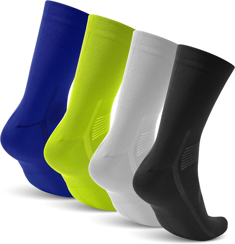 Tall Cycling Socks for Men & Women   4 Pairs Sports Mountain Bike Socks Mens Breathable