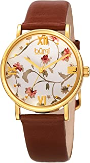 Burgi Stylish Floral Print Women's Watch - On Genuine Leather Strap with Roman Numerals - BUR186